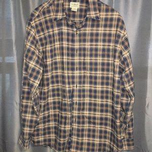 LL Bean men's large plaid shirt 100% cotton
